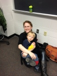 B came with me to my last day of teaching. :)