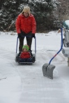 Shoveling snow with Grandpa Gerald