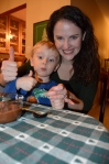 Thumbs up for Mint Chocolate with Aunt Laura