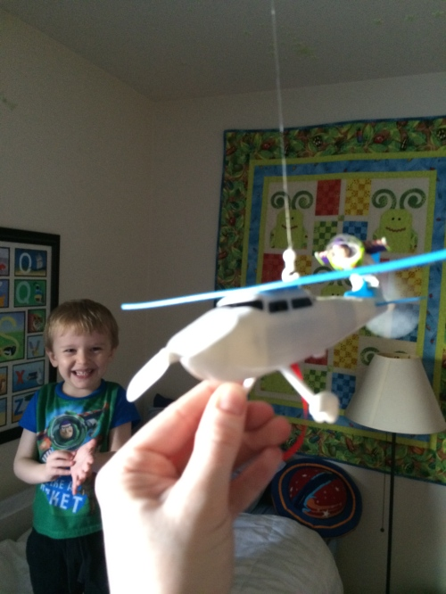 Buzz riding on the new airplane