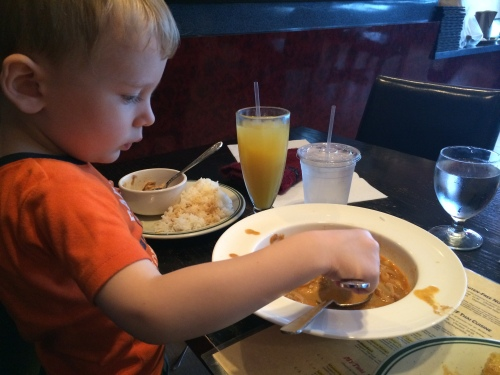 B wanted to go to a restaurant. He chose Thai, and we had a great time :)