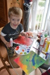 B loves painting - and generally making messes