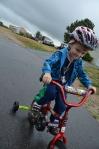 Riding the new bike, come rain or come shine...
