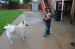 Playing ball with Yogi