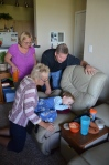 Grandpa Tom, Grandma Julie, and Aunt Roxi came to visit :) Here they are Skyping with Mark in Tx