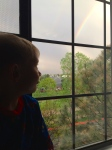We talked about how rainstorms work; lightning, thunder, rainbows...