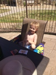 Pool time. B swam all the way across with his arm floaties. 1st time