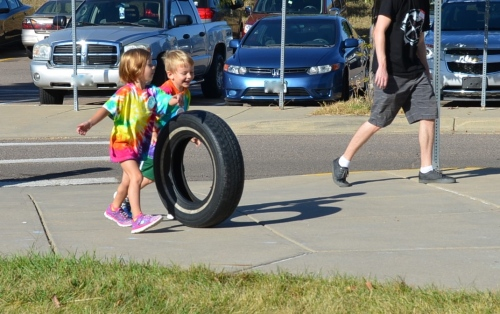 """""""Peanut butter and jelly partners"""" for pairing up for class activities :) In this case the tire push at field day"""