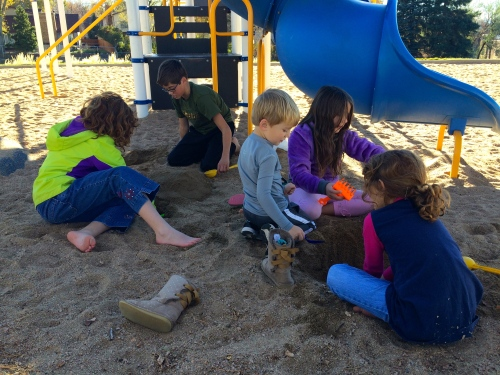 Sandcastles at the park with neighbors