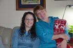 Mom and Laura on Christmas morning