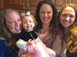 Cousin Jenna, her lovely daughter Cora, Laura, and I