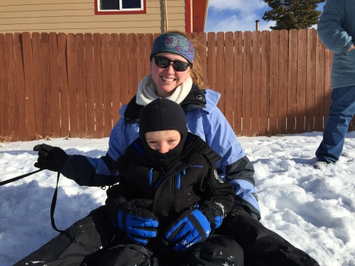B and I enjoyed sledding