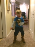 """Playing with Mom's boots... """"I'm a cowboy."""""""