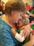 Aunt Eileen snuggling her grandson - So cute!