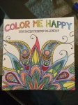 Fun new calendar, a gift from Dad and Lil. A little coloring every day is fun.